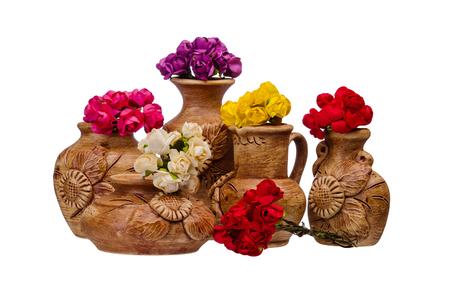 Group of ceramic vase on isolated background photo