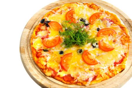 pizza on white background photo