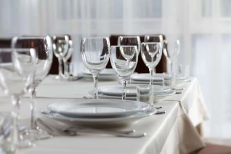 acquaintance: Table set for event party or wedding reception