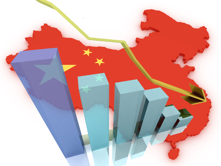 china business: china stock markets go down, drop, and loose money Stock Photo