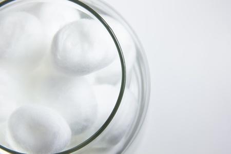 cotton balls in jar top view