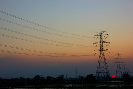 electricity post sunset photo