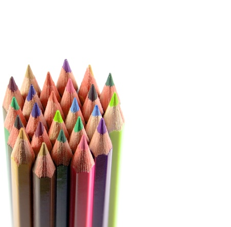 set color pencils white background Stock Photo