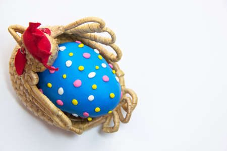 Easter egg blue color isolated Stock Photo