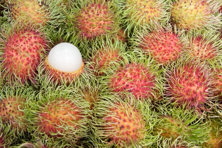 Close up rambutan background, tropical fruits