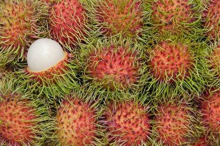 Close up rambutan on tray