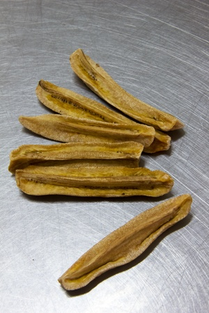dried banana on stainless Stock Photo