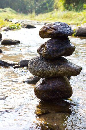 Zen, rock tower river