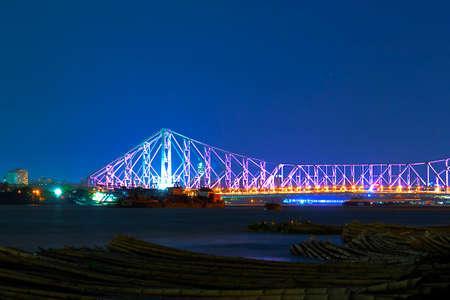 howrah: Howrah bridge in purple light,I shoot it in Howrah,India.
