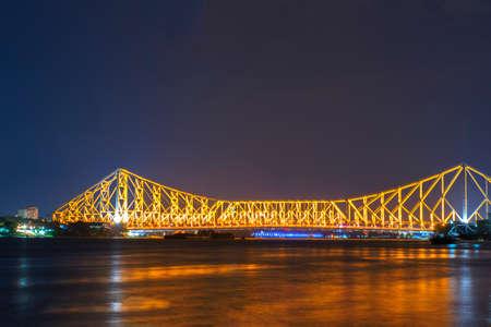 howrah: Golden glow of Howrah bridge,I shoot it in Howrah,India. Stock Photo