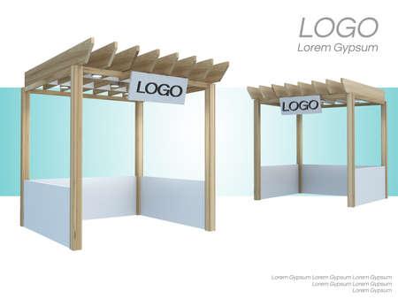 Marktkiosk, verkoopwinkel, 3D-rendering voor evenementen en tentoonstellingen; Stockfoto
