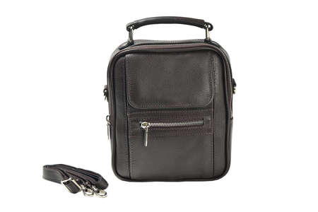 men brown leather handbag in the studio white isolated background Stockfoto