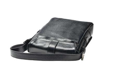 men black leather handbag in the studio white isolated background