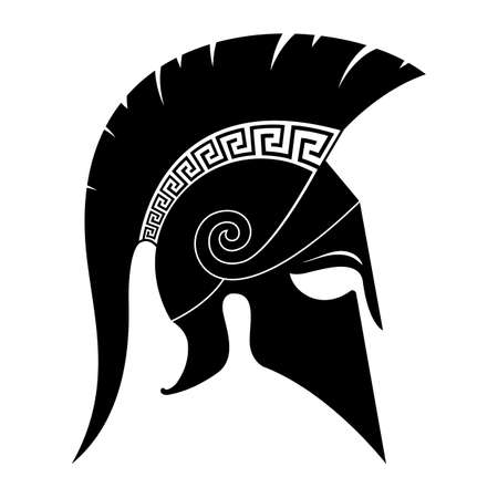 Black spartan helmet icon. Vector illustration.