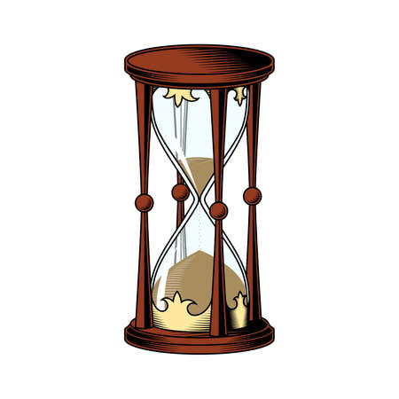 Hourglass on white background. Vector drawing. Color illustration.