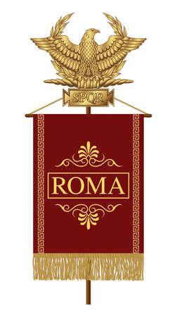 Roman Standard (Signa Romanum) with the inscription Roma. Golden Roman Eagle with the inscription S.P.Q.R. - Senatus Populus Quiritium Romanus, that in Italian means The Senate and the People of Rome. Ilustração Vetorial