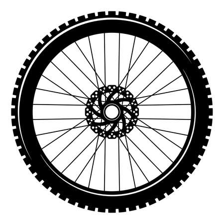 Bicycle wheel isolated on white background. Stock vector illustration