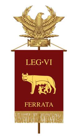 Standard of the Sixth Ironclad Legion. Golden Roman Eagle with the inscription S.P.Q.R. - Senatus Populus Quiritium Romanus, that in Italian means The Senate and the People of Rome. Ilustração Vetorial