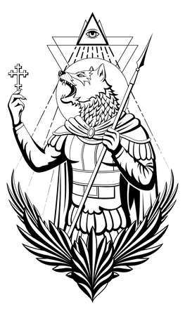 Saint Christopher is depicted with the head of a dog and holds a cross in his hand, an all-seeing eye above his head. Çizim