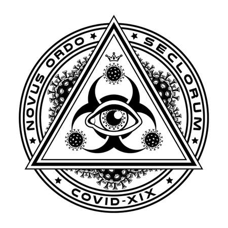 The all-seeing eye, biohazard symbol, the pyramid is covered with particles of coronavirus. Conspiracy Theory, Masonic symbols. Ilustración de vector