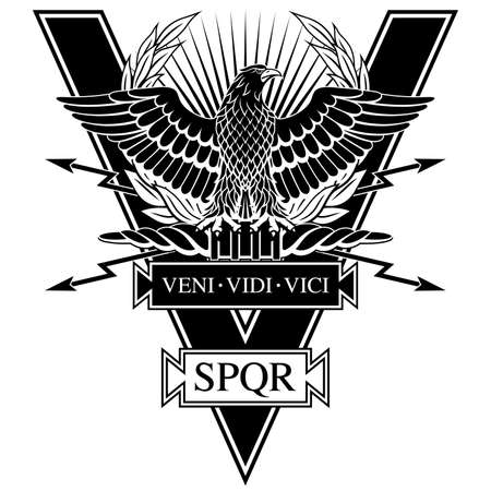 Roman Eagle with the words of Caesar's Veni, vidi, vici (I Came, I Saw, I Conquered) and SPQR - Senatus Populus Que Romanus, that in Italian means The Senate and the People of Rome. 일러스트