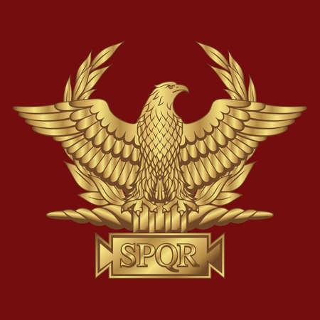 Golden Roman Eagle with the inscription SPQR - Senatus Populus Que Romanus, that in Italian means The Senate and the People of Rome.