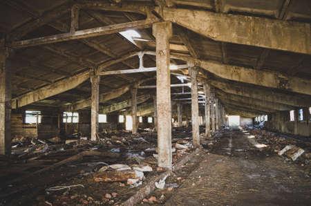 Abandoned, collapsing farm. Russia, Tula region.