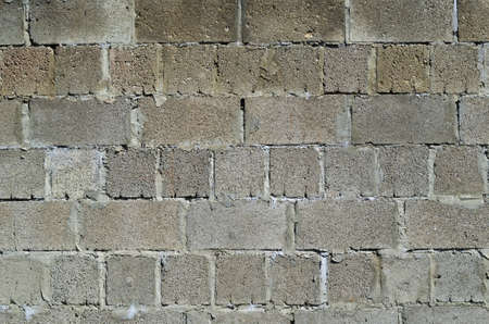 Old, dirty wall of cinder block.