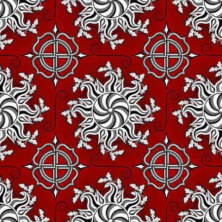 Sacred solar symbols seamless pattern.