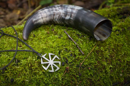 Pagan symbolism of cow horn and an ancient symbol of Kolovrat on the forest moss. Stockfoto