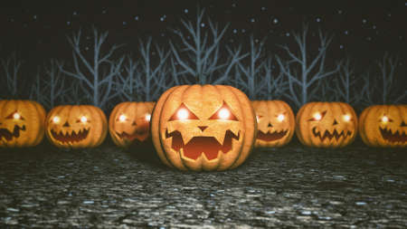 Spooky pumpkins on the background of trees without leaves. Scary dark forest, halloween spooky background, horror wallpaper. 3D illustration Stockfoto