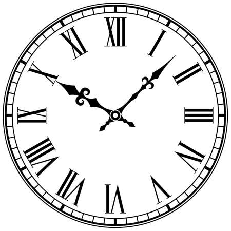 Clock Face With Roman Numerals. Vector vintage image.