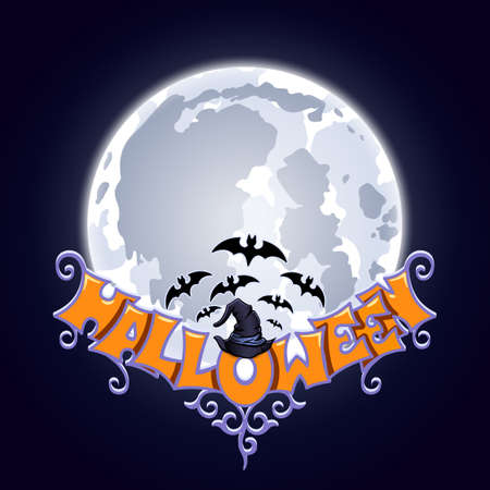 Halloween lettering with hat on dark background with the moon and bats. Design element vector illustration. Stock Illustratie