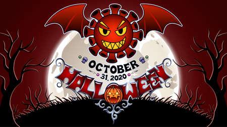 Bat coronavirus. Drawing on the theme of Halloween. 矢量图像