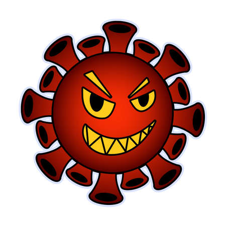 Cartoon coronavirus. Red particle with a toothy smile.