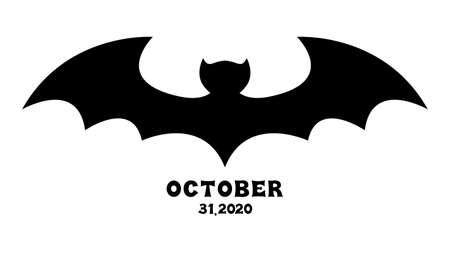 Silhouette of a bat vector illustration. Ilustración de vector