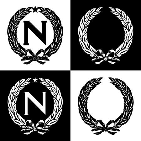 Set of laurel wreaths, Napoleon Bonaparte (N) with a five-pointed star. Vector illustration.