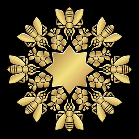 Empire Style Rosette. Eight-pointed star and bees with flowers. Stock Illustratie