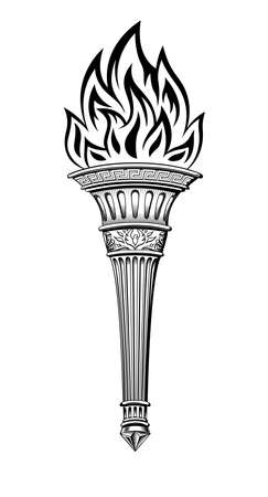 Antique torch with the fire of Prometheus. Stock Illustratie