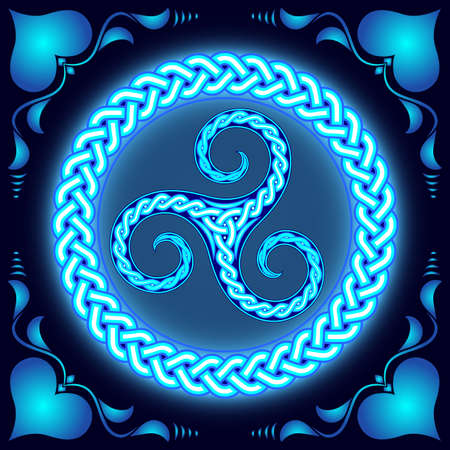 Ancient pagan pattern, circular ornament, neon light.