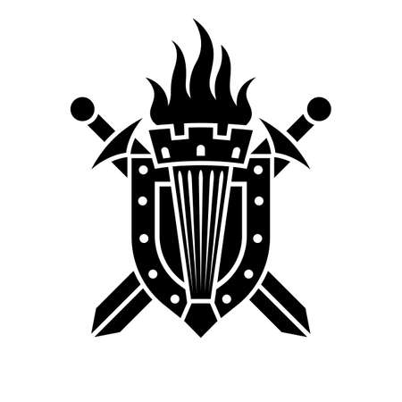 Torch on the background of a shield and crossed swords.