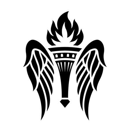 Winged torch . Print, torch with wings.