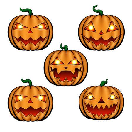 Cartoon halloween pumpkins, Spooky Jack O 'Lantern isolated on white. Stock Illustratie