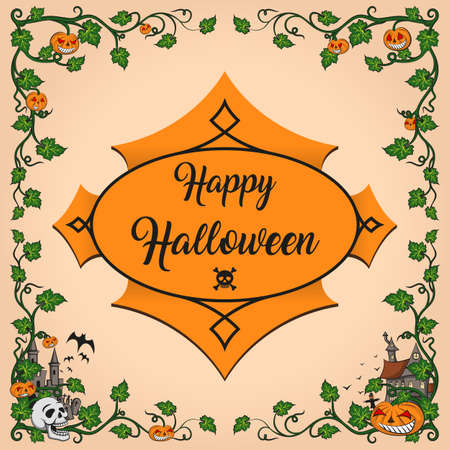 Halloween corners smiling pumpkin and skull, corners consisting of pumpkin leaves.