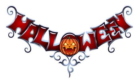 Halloween lettering with pumpkin. Lettering for your design. Stock Illustratie