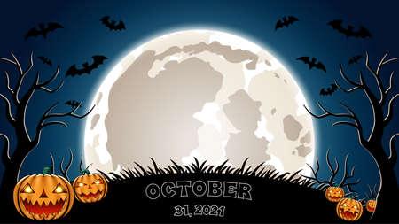 Halloween template (october 31, 2021). Pumpkins, bats and big moon.