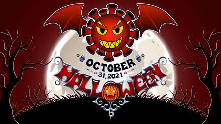 Bat coronavirus. Drawing on the theme of Halloween. Stock Illustratie