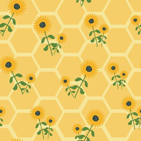 Honeycomb seamless pattern with sunflowers. Perfect for wallpaper, scrapbooking and fabric.