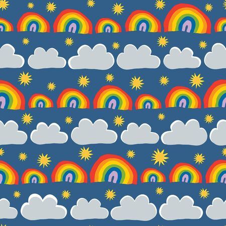 Rainbows Sky and Clouds Seamless Vector Pattern. Perfect for scrapbooking, wallpaper and fabric.