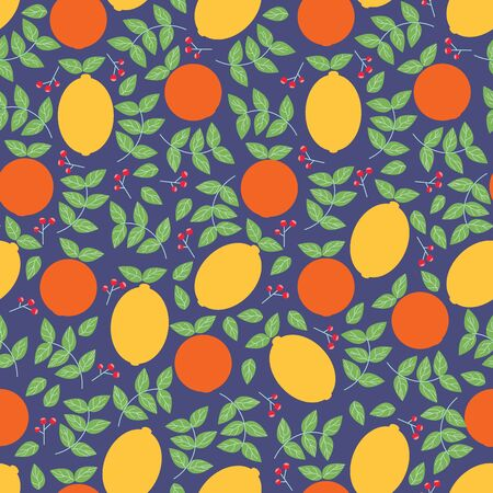 Vector oranges and lemons seamless repeating pattern. Perfect for scrap booking, fabric and wallpaper.